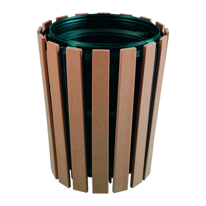 32 Gallon Recycled Plastic Tapered Trash Receptacle And Powder Coated Steel, Surface Mount