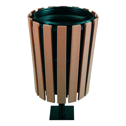 32 Gallon Recycled Plastic Tapered Trash Receptacle With Stand And Powder Coated Steel - Surface Mount