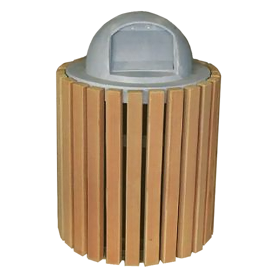32 Gallon Recycled Plastic Trash Receptacle With Dome Top - InGround Mount