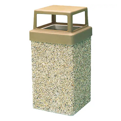 9 Gallon Concrete Trash Can - 4 Way Open Top - Portable