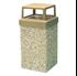 9 Gallon Concrete Trash Can - 4 Way Open Top - Portable