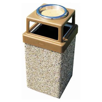 9 Gallon Concrete Trash Can - 4 Way Open Top W/ Ashtray - Portable