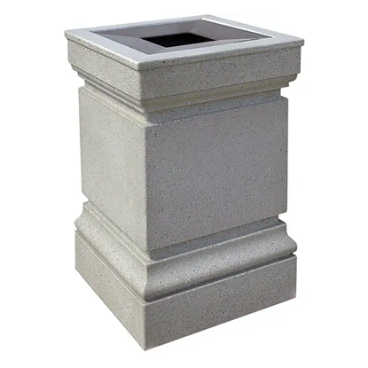 24 Gallon Concrete Trash Can - Aluminum Pitch-In Top - Portable