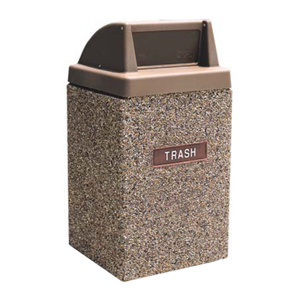 45 Gallon Concrete Trash Can - Push Door Top - Portable