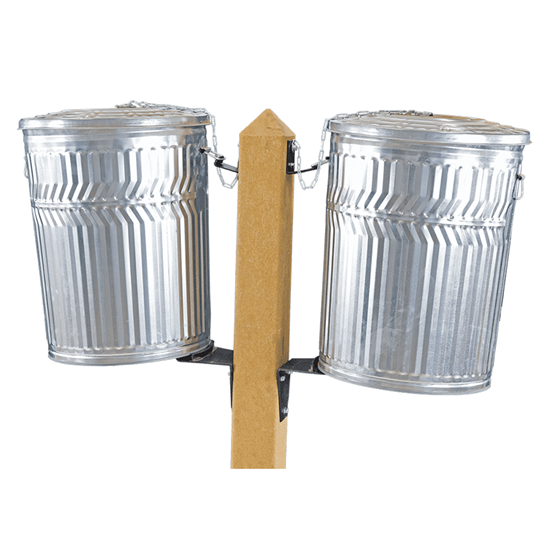 Double Side Can Post - Wooden - In-Ground Mount