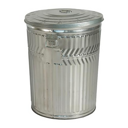 32 Gallon Trash Can - Galvanized Metal - Portable