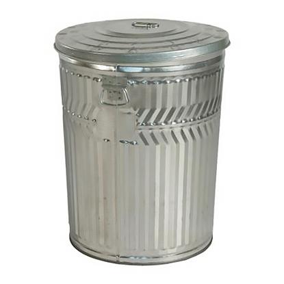 32 Gallon Trash Can - Galvanized Metal - Portable