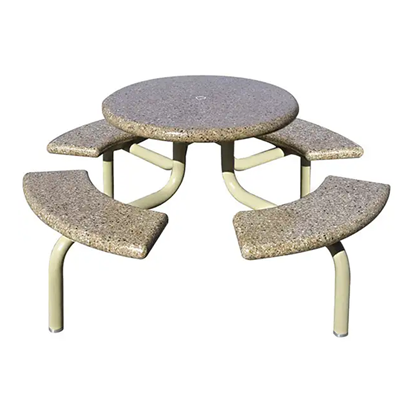 Concrete Round Picnic Table - Metal Frame - Portable