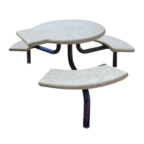 ADA Concrete Round Picnic Table - Metal Frame - Portable