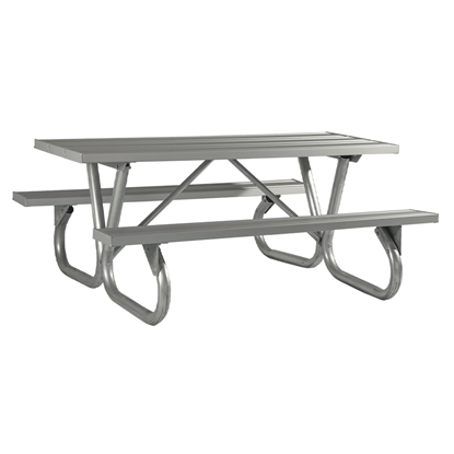 "6 Ft. Rectangular Aluminum Picnic Table - 2 3/8"" Bolted Frame - Portable"