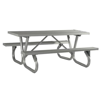 "6 Ft. Rectangular Aluminum Picnic Table - 2 3/8"" Bolted Frame - Portable"