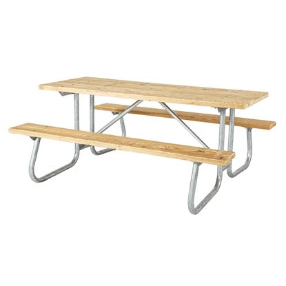 """6 Ft. Rectangular Wooden Picnic Table - 1 5/8"""" Welded Frame - Portable"""