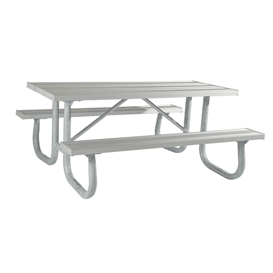 """6 Ft. Rectangular Aluminum Picnic Table - 2 3/8"""" Welded Frame - Portable"""