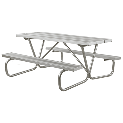"6 Ft. Rectangular Aluminum Picnic Table - 1 5/8"" Bolted Frame - Portable"