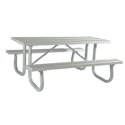 "12 Ft. Aluminum Picnic Table With 2 3/8"" Galvanized Steel Frame - 249 Lbs."