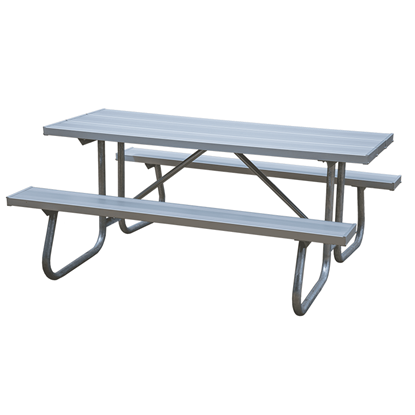 8 Ft Rectangular Aluminum Picnic Table - Bolted Steel Frame - Portable