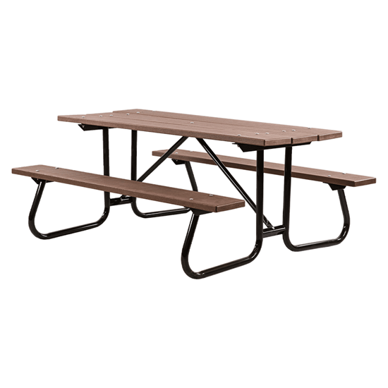 8 Ft Recycled Plastic Picnic Table - Welded Steel Frame - Portable
