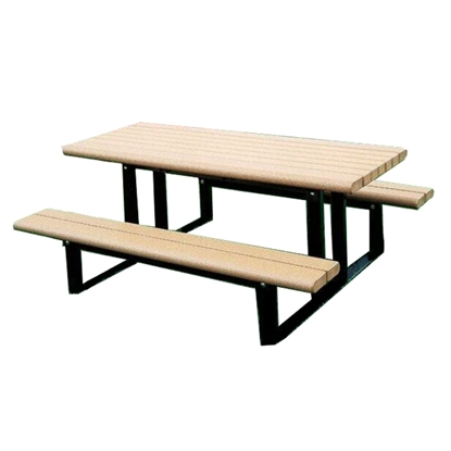 Rectangular 6 Ft. Recycled Plastic Picnic Table - Powder Coated Steel Frame - In-Ground Mount