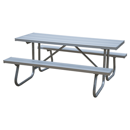 "12 Ft. Aluminum Picnic Table With 1 5/8"" Galvanized Steel Frame - 229 Lbs."