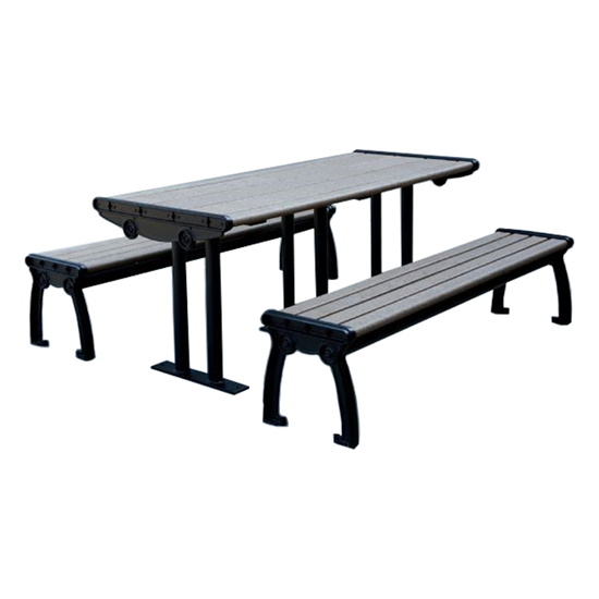 8 Ft. ADA Recycled Plastic Picnic Table - Cast Aluminum Frame - Portable / Surface Mount