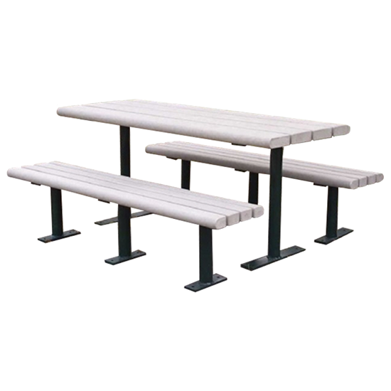 Rectangular 8 Ft. Recycled Plastic Picnic Table - Steel Frame - Inground Or Surface Mount