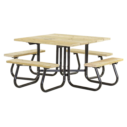 Square Picnic Table - Wooden Top And Seat - Metal Frame - Portable