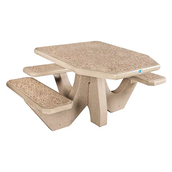 ADA Concrete Picnic Table - 3 Attached Seats - Portable