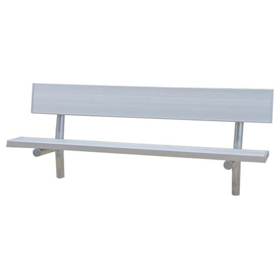 6 Ft. Aluminum Park Bench With Back - Galvanized Frame - Inground Mount