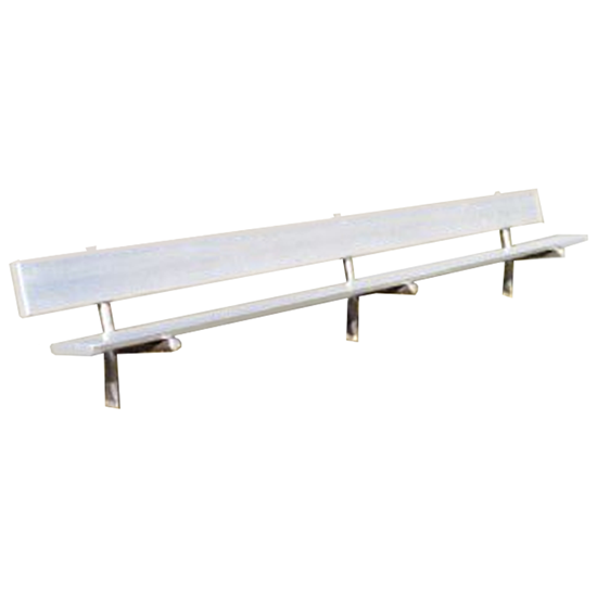 8 Ft. Aluminum Park Bench With Back - Galvanized Frame - Inground Mount