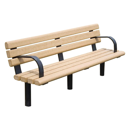 8 Ft. Recycled Bench - Steel Frame - In-Ground Or Surface Mount