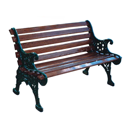 4 Ft. Renaissance Bench With Back - Wooden Slats And Metal Frame - Portable