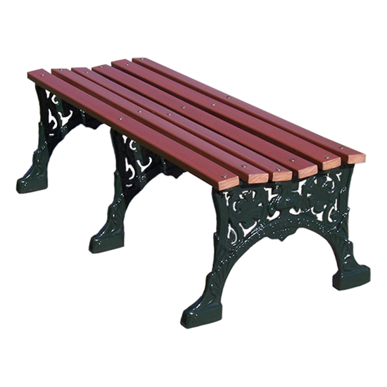 80 Inch Renaissance Bench Without Back - Wooden Slats And Metal Frame - Portable