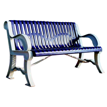 5 Ft. Bench With Back - Thermoplastic Coated Steel And Cast Aluminum Legs - Classic Style - Portable