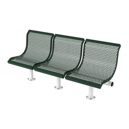 3 Seat Convex Bench With Back - Thermoplastic Coated Steel - Expanded Metal - Surface Mount