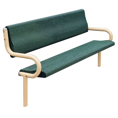 6 Ft. Bench With Back - Perforated Powder Coated Steel - Inground Mount