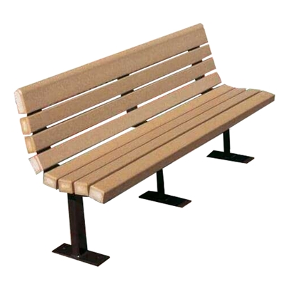6 Ft. Recycled Plastic Bench - Steel Frame - Contour - Surface Mount
