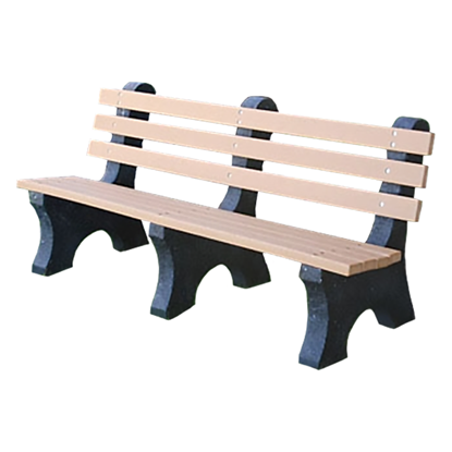 6 Ft. Recycled Plastic Bench With Back - Portable