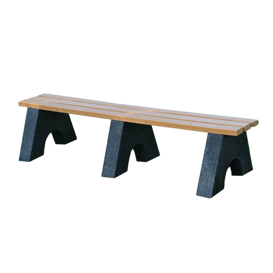 6 Ft. Recycled Plastic Bench Without Back - Slats - Portable