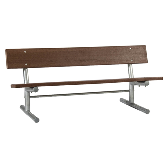 6 Ft. Recycled Plastic Bench With Back - Galvanized Tube - Portable
