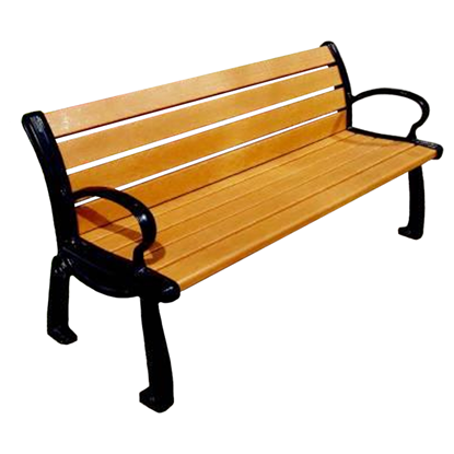 6 Ft. Recycled Plastic Bench With Back - Powder Coated Aluminum - Surface Mount - Portable