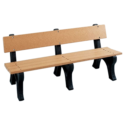 6 Ft. Recycled Plastic Bench With Back - Easy Assembly - Portable