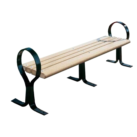 6 Ft. Recycled Plastic Flat Hoop Bench Without Back - Steel Frame - Surface Mount