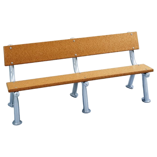 6 Ft. Recycled Plastic Bench With Back - Galvanized Frame - Surface Mount