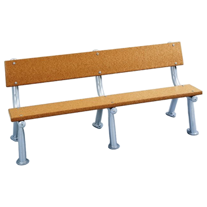 8 Ft. Recycled Plastic Bench With Back - Silver Frame - In Ground Mount