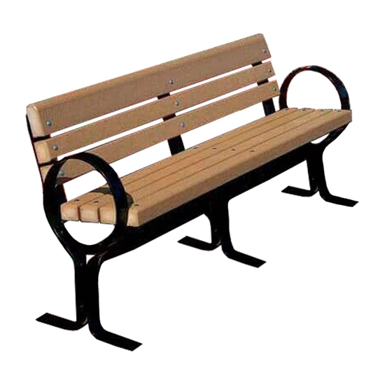 6 Ft. Recycled Plastic Hoop Bench With Back - Steel Frame - Surface Mount