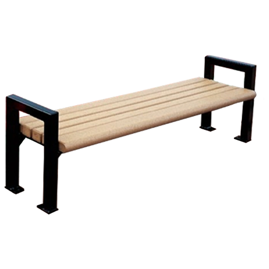 6 Ft. Recycled Plastic Flat Bench Without Back - Powder Coated Steel - Surface Mount
