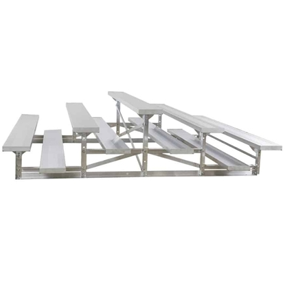 27 ft. Back-To-Back 3 Row Aluminum Bleacher without Guardrails and Double Footboards - 600 lbs.