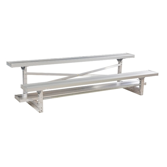 7.5 ft. Aluminum Bleacher 2 Rows without Guardrails and Double Footboards - 100 lbs.