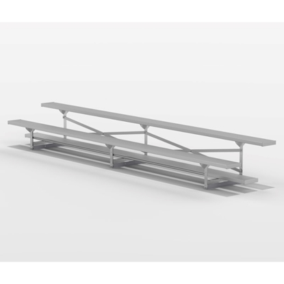 15 ft. Aluminum Bleacher 2 Rows without Guardrails and Double Footboards - 155 lbs.