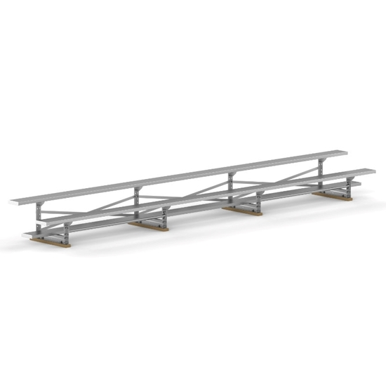 21 ft. Aluminum Bleacher 2 Rows without Guardrails and Double Footboards - 215 lbs.